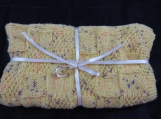 Knitted Yellow Flecked Baby Blanket - Free Shipping
