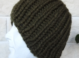 Men's Knitted Dark Green Beanie Hat - Free Shipping