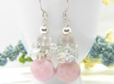Raspberry Cotton Candy Earrings - Pink Opal and  Aquamarine in Silver with Rose Quartz