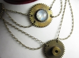 Steampunk Princess Necklace - Brass Gears With Moonstone