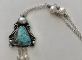 Turquoise Silver Necklace with Pearls