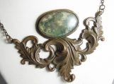 Vintage Moss Necklace - Bronze with Moss Agate in Copper