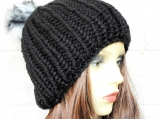 Women's Black Hat With Multicoloured Pom Pom - Free Shipping