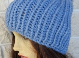 Women's Blue Hat With Blue Pom Pom - Free Shipping