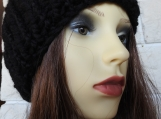 Women's Kniitted Black Hat With A Black Pom Pom - Free Shipping
