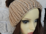 Women's knitted Light Brown Hat And Brown Pom Pom - Free Shippin
