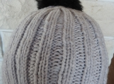 Women's Light Grey Hat With Black Pom Pom - Free Shipping