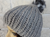Women's Light Grey Hat With Multicoloured Pom Pom - Free Shippin