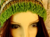 Women's Multicoloured Hat With Green Pom Pom - Free Shipping