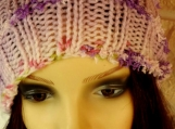 Women's Multicoloured Hat With Purple Pom Pom - Free Shipping