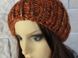 Women's Orange Random Hat With A Brown Pom Pom - Free Shipping