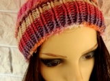 Women's Pink Multicoloured Hat With Pink Pom Pom - Free Shipping
