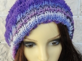 Women's Purple Two Style Hat With White Pom Pom - Free Shipping