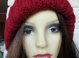 Women's Red Two Style Hat With Cream Pom Pom - Free Shipping