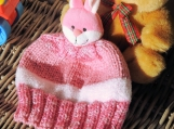Child's Pink And White Bunny Hat - Free Shipping