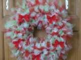 Red, Green and white Christmas Tulle Wreath