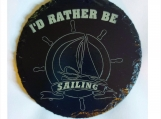 Coasters Set Gift Set of 4 Rather Be Sailing Laser Engraved