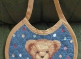 Denim look teddy bear bib