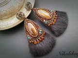 Earrings with natural stone  . (Japanese Bead Embroidery)