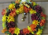 Fall  Orange and Yellow Pine Cone Wreath