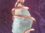 Green Flourite Pendant with Copper Wire Wrap