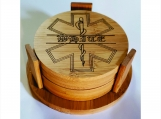 Personalized Coaster Set of 4 Star of Life Bamboo Laser Engraved