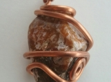 Red Jasper Pendant Wire Wrapped with Copper
