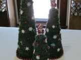 Set of 3 green table top Christmas Trees