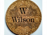 Trivet Hot Pad  7 Inch Cork Personalized Design Name & Initial