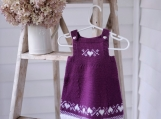Baby Size 3-9 mos ~ Hand Knit Baby Girl Fair Isle Pinafore Dress in Boysenberry & White Machine Washable Wool