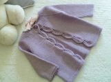 Baby Size 6-9 months ~ Hand Knit Baby Girl Cardigan with Leaf Lace border in Lilac Cotton Cashmere blend Yarn