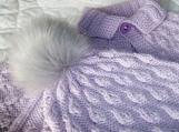 Baby Size 9 - 18 mos Cozy Poncho / Bolero with Pompom Hat