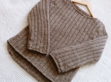 Child Size 4 Years ~ Hand Knitted Child's  Shirttail Shabby Chick Pullover in Brown Machine Washable Merino Wool