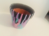 Dripped painted flower pot
