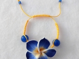 Blue and Yellow Flower Shamballa Bracelet