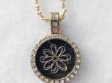 Gold and black Rhinestone Necklace