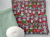 Gray, Green and Red Monkey facecloth