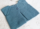 Hand Knit Pretty Teal Blue Sleeveless Baby Cardigan~Size 0 to 6