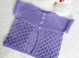 Hand Knitted Cornflower Textured Lace Baby Cardigan