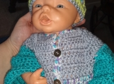 Infant cardigan and hat set