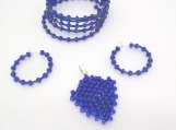 Intricate Sapphire Blue Pendant, Bracelet and Earrings