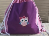 Kids Theme Drawstring Backpack- Pink Owl