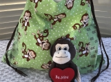 Kids Theme Drawstring Bag - Laughing Monkey (Light Green)