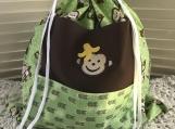 Kids Theme Drawstring Bag - Laughing Monkey (Green)