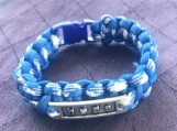 Paracord bracelet blue/white camo