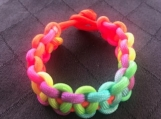 Paracord bracelet neon rainbow knotted