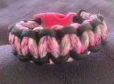 Paracord bracelet pink/black/white camo