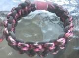 Paracord bracelet pink/gray colors