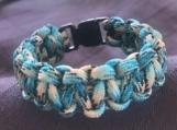 Paracord bracelet turquoise/black/white camo