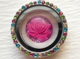 Pink Flower Multicolor Rhinestones Necklace